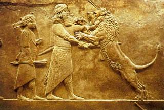 Asurbanipal y el león