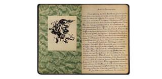 El cuaderno de André Breton, con un ex libris dibujado por Max Ernst.jpg