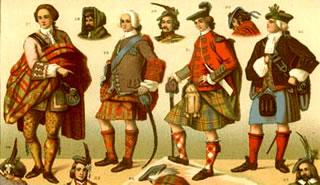 Escoceses de 1800 dibujados por Albert Racinet