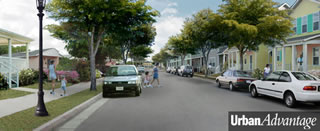 Revitalized residential street: Mix of housing types